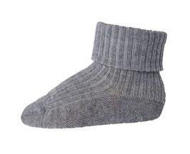 MP DENMARK Chaussettes fines bébé enfant en laine Mérinos, haut enroulé gris moyen 491