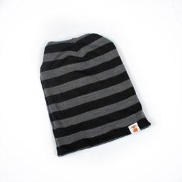 TK CLOTHING Bonnet très fin interlock enfant laine Mérinos, rayé gris et noir