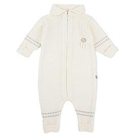 LILLELAM Combinaison bébé en laine Mérinos, blanc