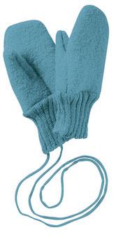 DISANA Moufles bébé laine bouillie, bleu lagon