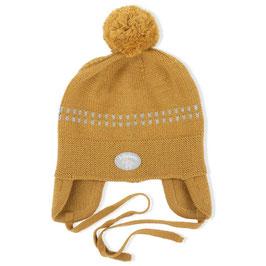 LILLELAM Bonnet bébé avec pompon, laine Mérinos, ocre