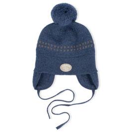 LILLELAM Bonnet bébé avec pompon, laine Mérinos, bleu foncé