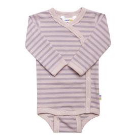 JOHA Body bébé ouverture sur le côté, laine Mérinos et coton, rayé rose et mauve