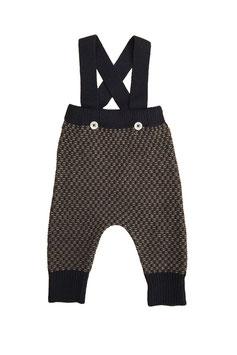 MABLI Pantalon à bretelles Ceri Miner laine Mérinos, gris foncé/marine