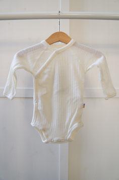 JOHA Body nouveau-né cache-coeur laine Mérinos, blanc