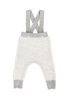 MABLI Pantalon à bretelles Ceri miner laine Mérinos, blanc/gris clair