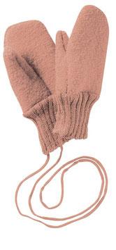 DISANA Moufles bébé laine bouillie, rose