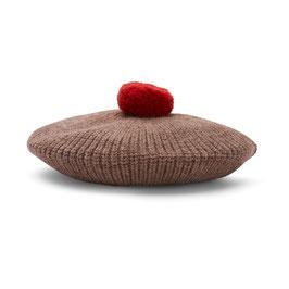KONGES SLØJD Béret enfant en laine Mérinos, marron avec pompon rouge
