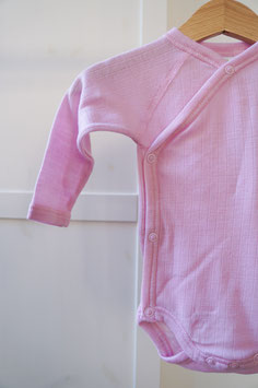 JOHA Body nouveau-né cache-coeur laine Mérinos, rose