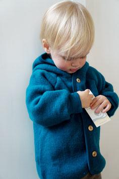 ENGEL Veste bébé à capuche laine polaire, bleu pétrole