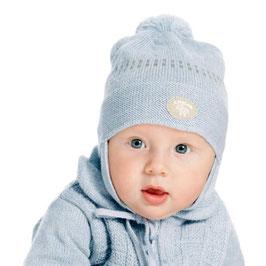 LILLELAM Bonnet bébé avec pompon, laine Mérinos, bleu clair