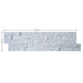 White Split Faced Quartz Mini Z Tile 600x150x8-15