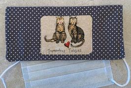 NEU: Stofftasche zur Aufbewahrung von Gesichtsmasken, Katze blau