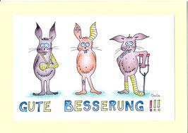 """Karte Gute Besserung A5 mit Kuvert """"Verletzte Hasen"""""""