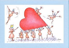 """Karte Valentinstag A5 mit Kuvert """"Ameisen mit Herz"""""""