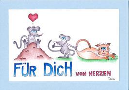 """Karte Valentinstag A5 mit Kuvert """"Maus mit Katzengeschenk"""""""