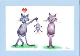 """Karte Valentinstag A5 mit Kuvert """"Katzen mit Mausgeschenk"""""""