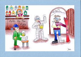 "Geburtstagskarte A5 mit Kuvert ""Ski-Bar Vroni"""
