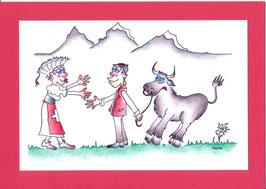 Swissness Grusskarte Schweizer Tracht