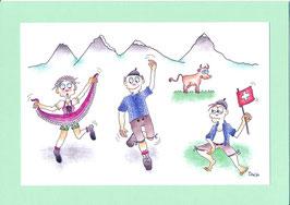 Swissness Grusskarte Schweizer Tanz