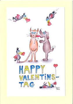 """Karte Valentinstag A5 mit Kuvert """"Vögel mit Herz"""""""