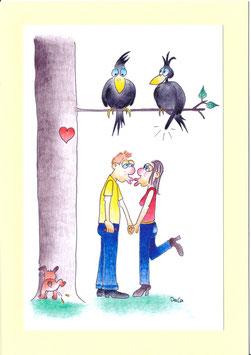 """Karte Valentinstag A5 mit Kuvert """"Liebespaar mit Rabenpaar"""""""