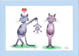 """Geburtstagskarte A5 mit Kuvert """"Katzen mit Mausgeschenk"""""""