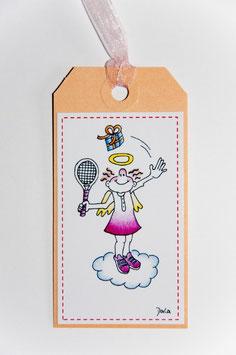 """Geschenkanhänger Engel """"Tennis"""""""