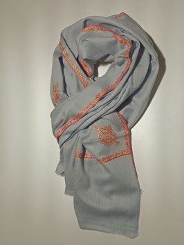 Hand-embroidered pure Cashmere Scarf 75x200cm