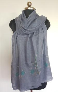 Super fine wool scarf ''THARIDAR '' embroidered 70x200cm KT-MP5999