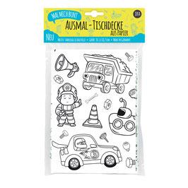 Ausmal-Tischdecke Motiv: Fahrzeuge & Baustelle
