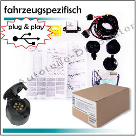 Elektrosatz 7 polig fahrzeugspezifisch Anhängerkupplung für Audi A4 Cabrio Bj. 2001-2007