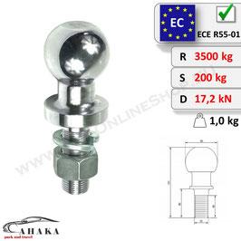 Kupplungskugel (kurz) ISO 50 mm inkl. selbstsichernder Mutter und Federring