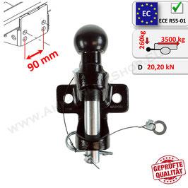 Zugmaul mit Kugelkopf für Anhängerkupplungsbock / Maulkupplung inkl. AHK-Kugel – Doppelte Ausführung Lochbild 90mm