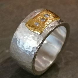 Feinsilber-Ring mit 24ct. Feingold und 3 Brillanten