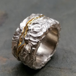 Der Aufbruch: Silber-Rosen-Ornament Ring mit Feingold
