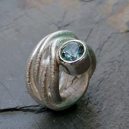 Silber-Ring mit schönem Aquamarin