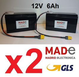 2 Baterías BC1260-PB con conector XT60 hembra