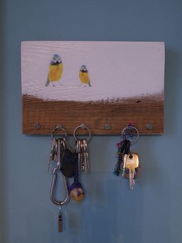"Schlüsselbrett ""zwei Blaumeisen I "" - ca. 25cm x 16cm"