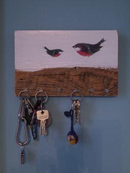 "Schlüsselbrett ""zwei rote Vögel"" - ca. 25cm x 16cm"
