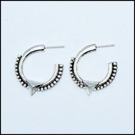 Silver vintage open hoop earrings model 4