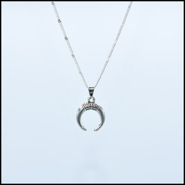 Silver necklace with crescent moon