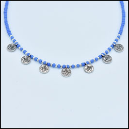 Septuple small coin necklace - Blue