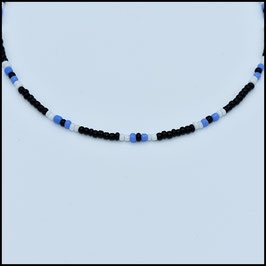 Beads choker - Black/white/blue