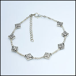 Silver rhomb anklet - silver