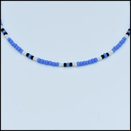 Beads choker - Blue/white/black
