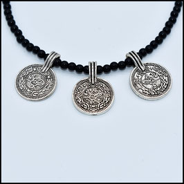 Triple coin necklace - Black