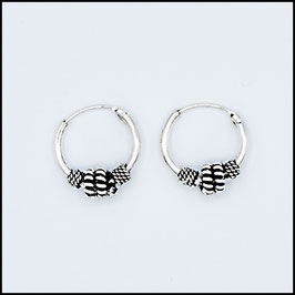 Silver bohemian hoop earrings model 5