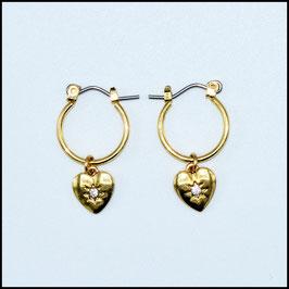 Gold hoop earrings heart