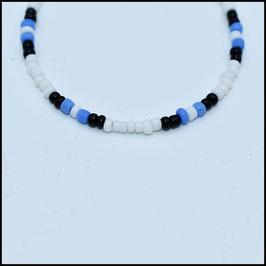 Beads bracelet - White/black/blue